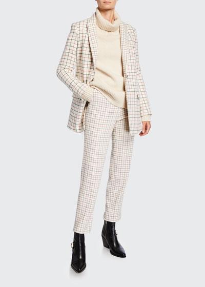 Poppy High-Waist Wool Check Pants