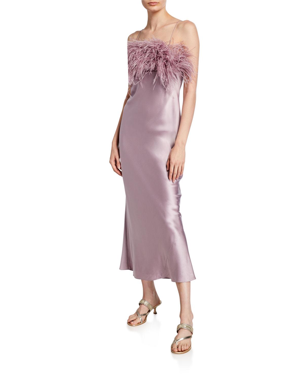 Cinq À Sept Dresses CERISE SLEEVELESS SLIP DRESS WITH FEATHERS