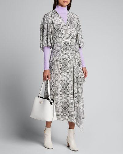 Flutter-Sleeve Snake-Print Long Wrap Dress