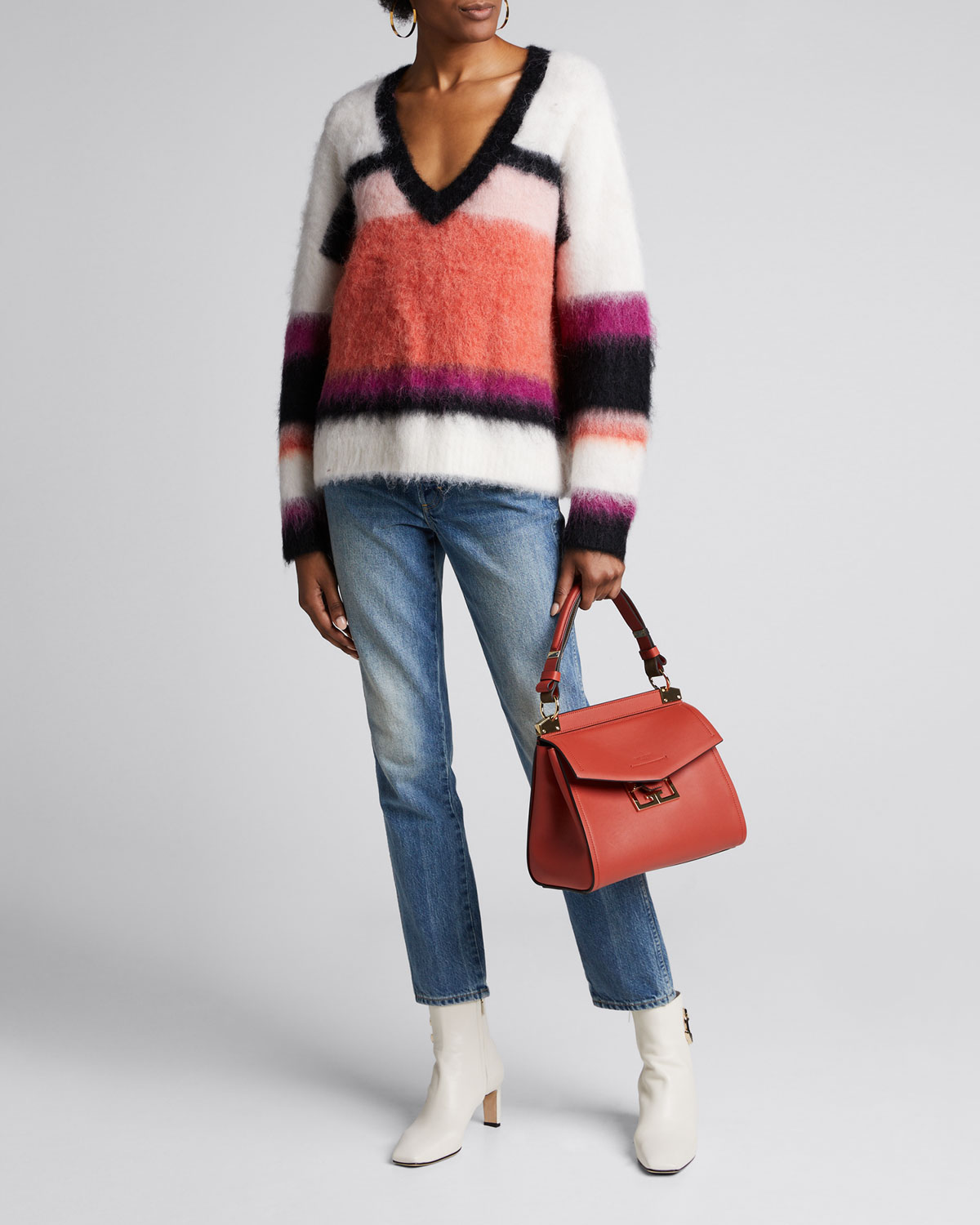 Cinq À Sept Sweaters ISABELLA STRIPE WOOL V-NECK SWEATER
