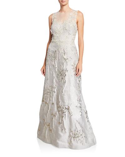 Mesh-Yoke 3D Flower Jacquard Gown