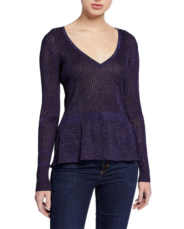 Veronica Beard Sweaters ESMERALDA METALLIC V-NECK SWEATER