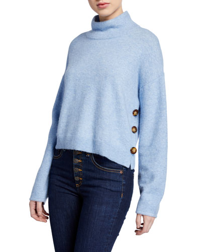 Cady Mock-Neck Pullover with Buttons