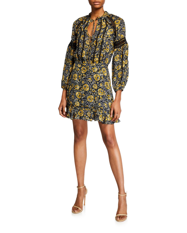 Veronica Beard Dresses IDA PRINTED LACE-INSET FLOUNCE DRESS