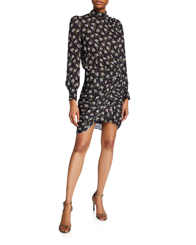 Veronica Beard Dresses CADENCE FLORAL HIGH-NECK DRESS