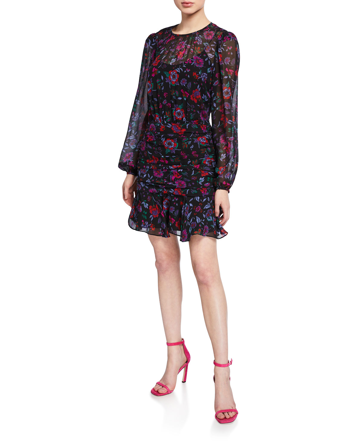 Veronica Beard Dresses ROBIN FLORAL-PRINT LONG-SLEEVE SILK SHORT DRESS