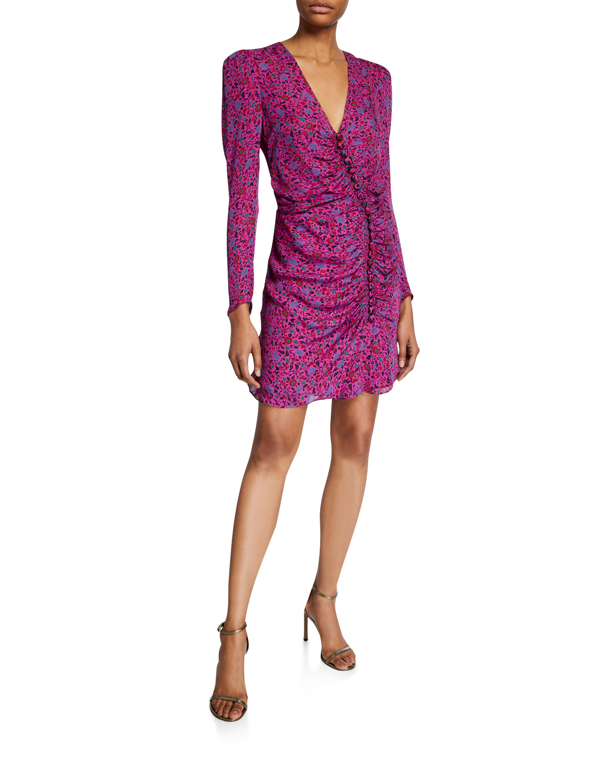 Veronica Beard Dresses VERONA FLORAL LONG-SLEEVE COCKTAIL DRESS