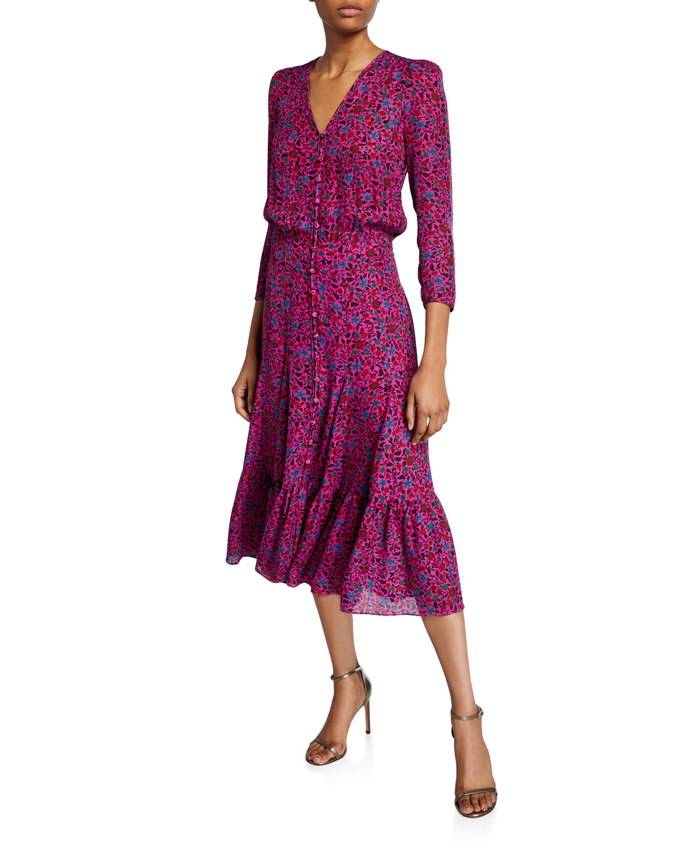 Veronica Beard Dresses LASANNA 3/4-SLEEVE FLORAL MIDI DRESS