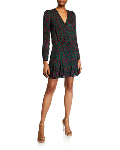Riggins Long-Sleeve Floral Flounce Dress