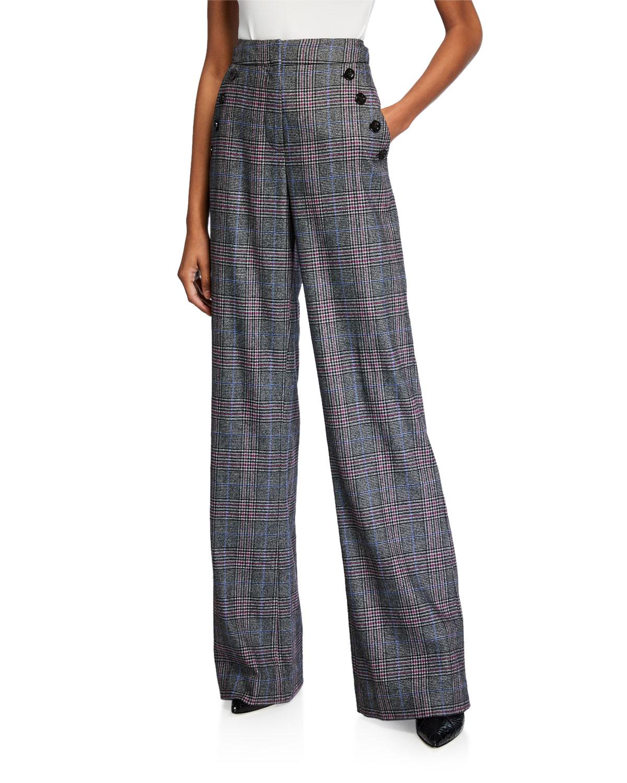 Veronica Beard Pants TULI HIGH-RISE CHECK STRAIGHT-LEG PANTS