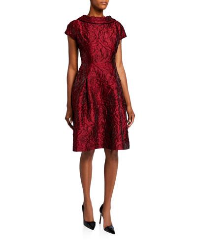 Roll-Neck Cap-Sleeve Textured Tonal Jacquard Dress