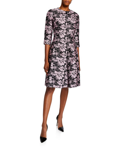 Bow-Neck 1/2-Sleeve Floral Jacquard Dress
