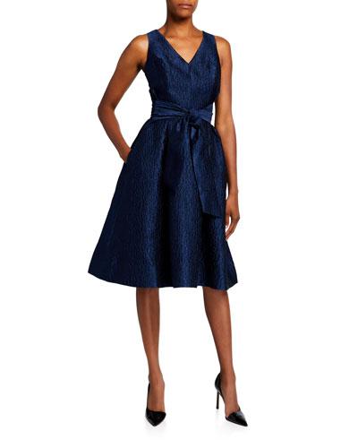 V-Neck Sleeveless Jacquard Dress with Sash Belt