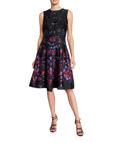 Sleeveless Fit-&-Flare Jacquard Dress