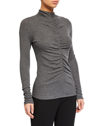 Theresa Ruched Turtleneck Top