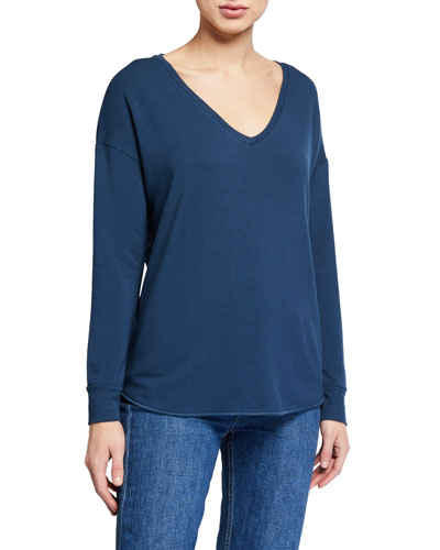 French-Terry V-Neck Drop-Shoulder Long-Sleeve T-Shirt