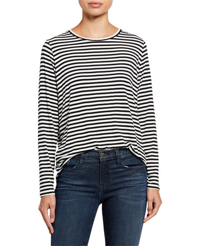 Soft Touch Striped Long Sleeve Relaxed Tee