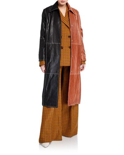 Nino Colorblock Lamb Leather Coat