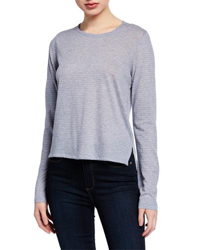 Striped Long-Sleeve Crewneck Cotton/Cashmere Top