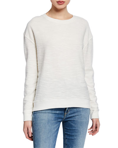 Cotton/Cashmere Textured Long-Sleeve Sweater