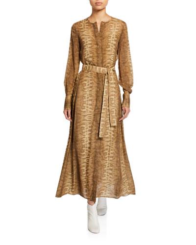 Coleen Belted Long-Sleeve Dress
