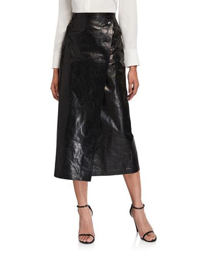 Leyla Glazed Weightless Lambskin Leather Midi Skirt