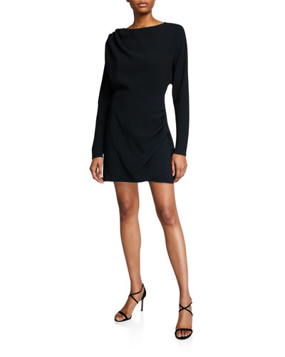 Greer High-Neck Long-Sleeve Mini Dress