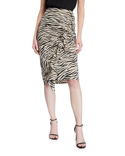 Metz Animal-Print Ruffle Skirt