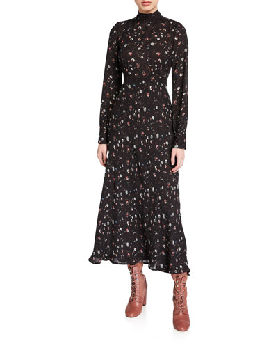 Casual High-Neck Floral Long-Sleeve Dress