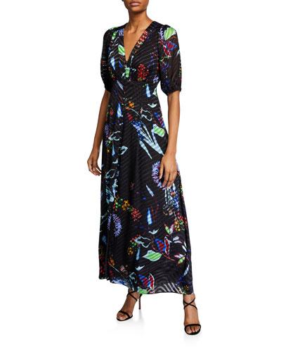 Ariela Floral Burnout Long Dress