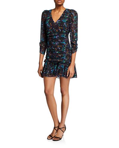 Kathleen Ruched 3/4-Sleeve Flounce Dress
