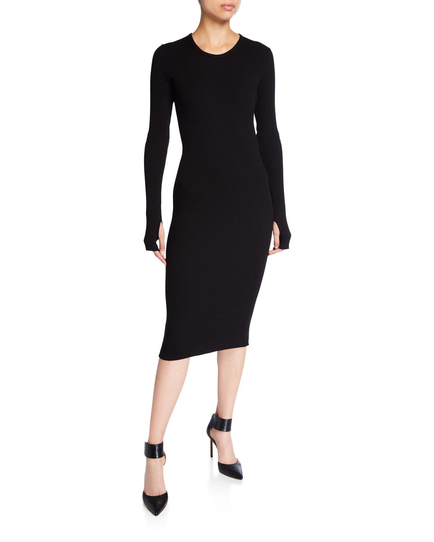 Helmut Lang Dresses CREWNECK LONG-SLEEVE RIB-KNIT DRESS