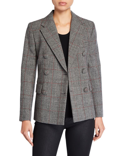 Grid Double-Breasted Wool Blazer