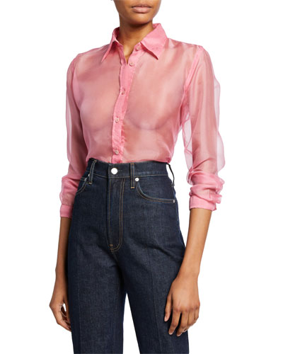 Button-Down Long-Sleeve Silk Organza Shirt