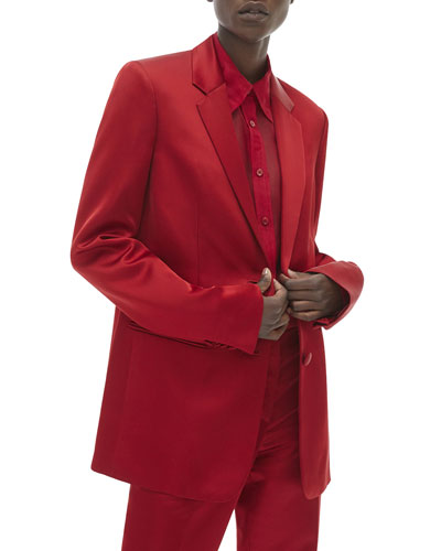 Two-Button Satin Blazer