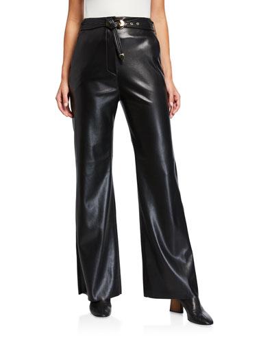 Kisa Vegan Leather Belted Pants