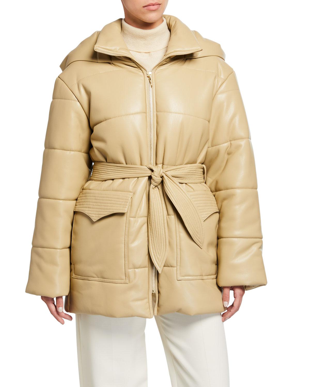 Nanushka Coats LENOX VEGAN LEATHER BELTED PUFFER COAT W/ HOOD
