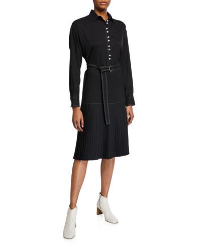 Long-Sleeve Drop-Waist Shirtdress