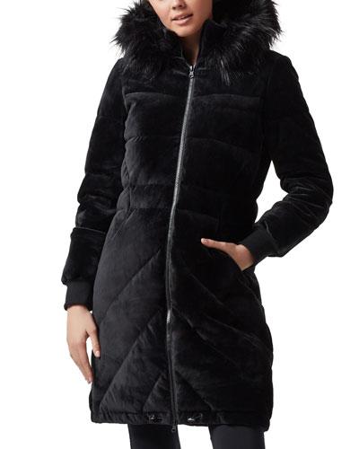 Alexandra Velvet Puffer Jacket w/ Faux Fur