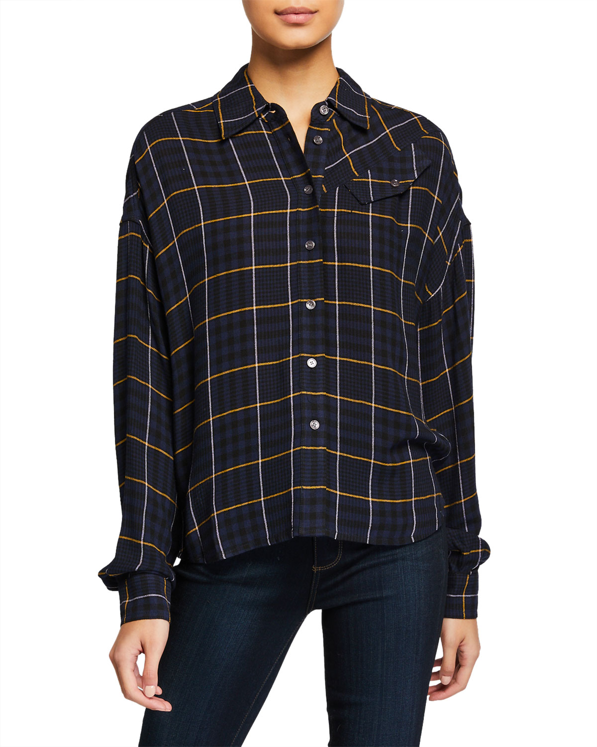 Derek Lam 10 Crosby T-shirts PLAID BUTTON-DOWN LONG-SLEEVE SHIRT