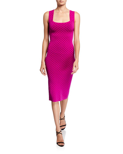 Micro Dot Square-Neck Sleeveless Fitted Dress