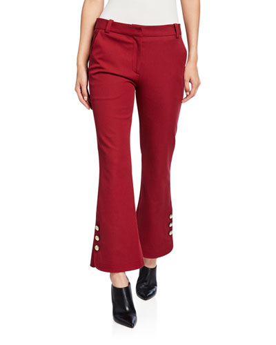 Cropped Flare Trousers with Sailor Buttons