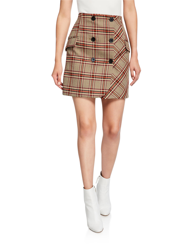 Derek Lam 10 Crosby Skirts DOUBLE-BREASTED CHECK MINI SKIRT