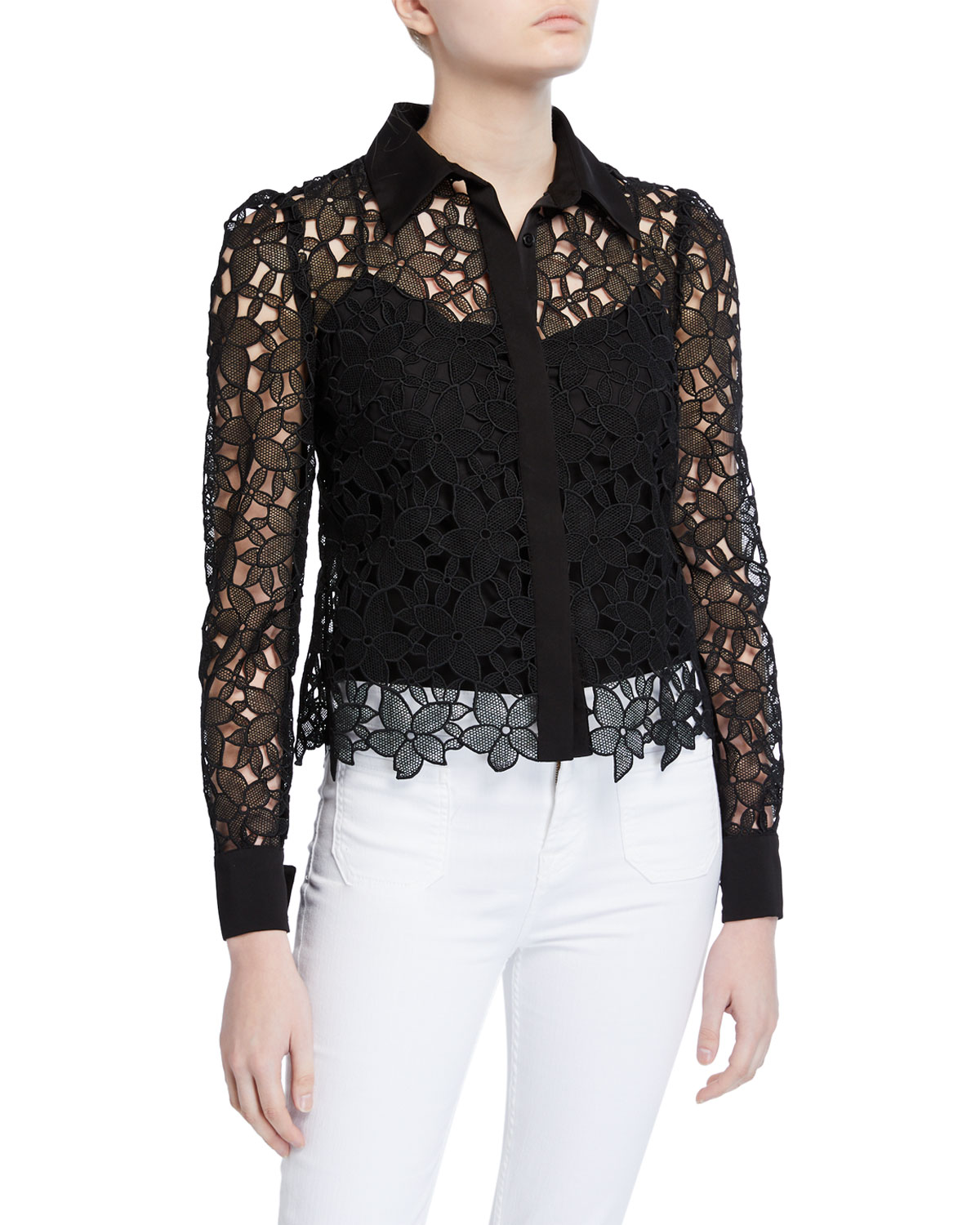 Milly Tops ELEANORA FLORAL GUIPURE LACE BUTTON-DOWN TOP
