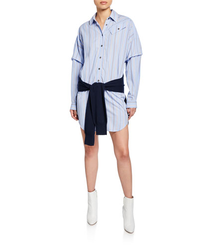Striped Long-Sleeve Combo Shirt Dress with Knit Waist Tie