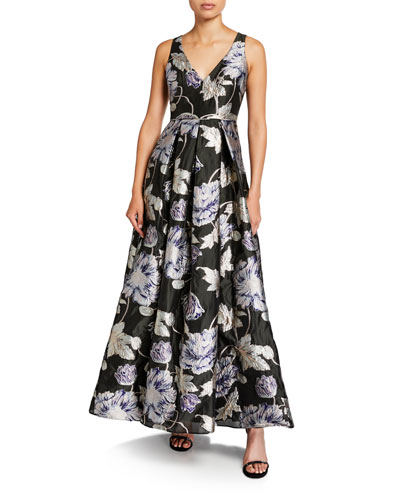 Floral Brocade V-Neck Sleeveless Ball Gown