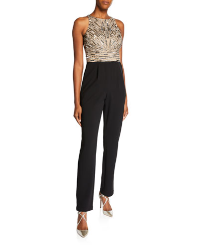 Beaded Bodice Sleeveless Jumpsuit with Crepe Pants