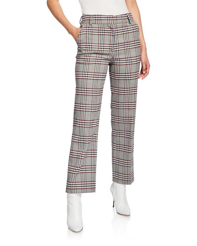 Straight-Leg Check Trousers