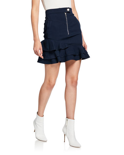 Ruffle-Hem Zip-Front Mini Skirt