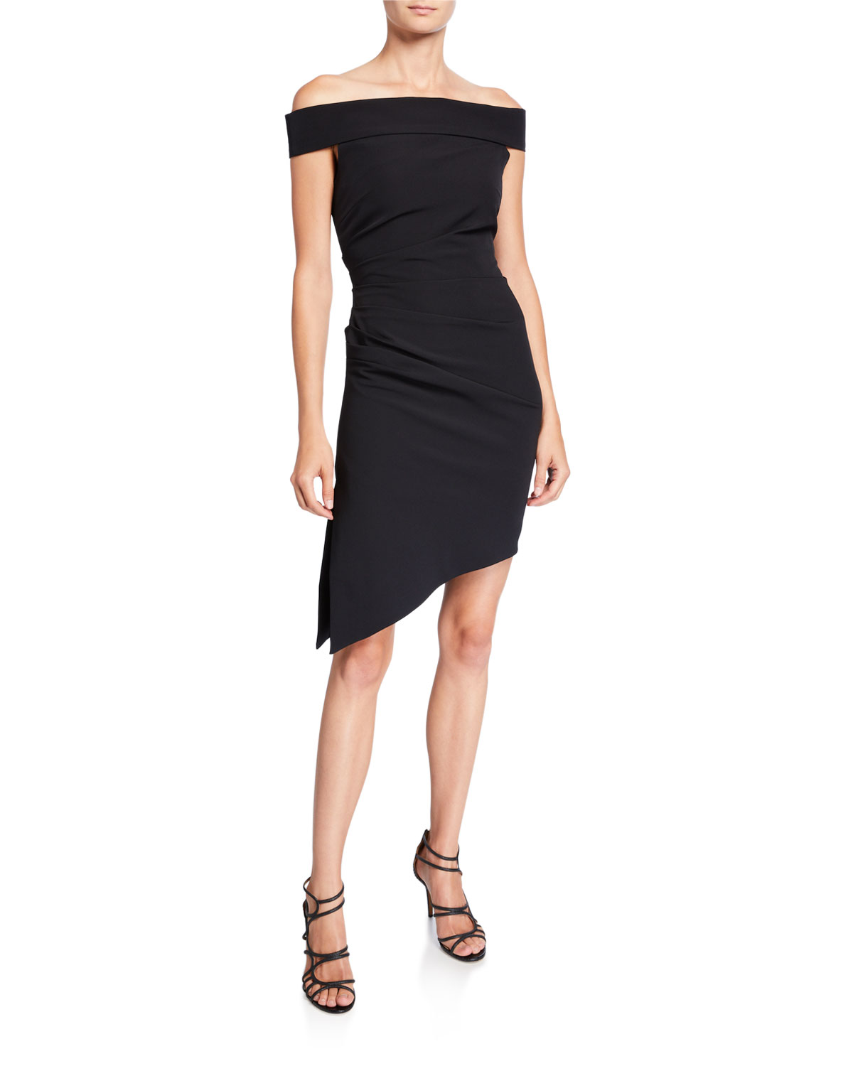 Milly Dresses ALLY OFF-THE-SHOULDER ASYMMETRIC CADY COCKTAIL DRESS
